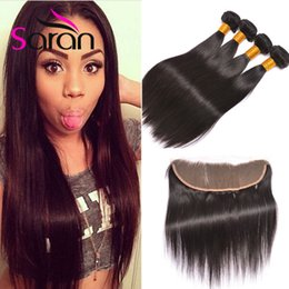 Wholesale Hair Grade Lengths - Ear To Ear 13x4 Inch Full Lace Frontal Closures With 3 Bundles 8A Grade Indian Straight Virgin Human Hair Weaves Closure Sarah Hair