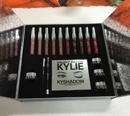 Wholesale Christmas Stocking Boxes - in stock ! Dropship Newest Kylie Cosmetics Holiday Collection Big Box Kylie Jenner Liquid Lipgloss Holiday Collection Christmas Lipsticks
