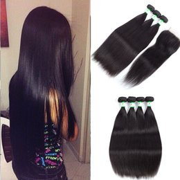 Wholesale Brazilian Body Wave Hair Bleachable - Brazilian Straight Human Hair Weaves Extensions 3 4 Bundles with Closure Free Middle 3 Part Double Weft Dyeable Bleachable 100g pc