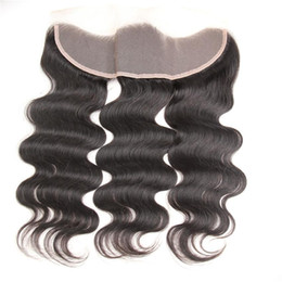 Wholesale malaysia human hair body weave - Malaysian Body Wave Frontal Ear To Ear Closure Malaysia Virgin Hair Lace Frontal Unprocessed Human Hair Frontal Closure DHL Free