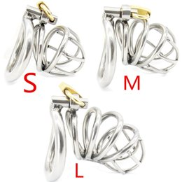 Wholesale Male Cock Cage Steel Ring - New High Quality Male Chastity Device Bird Lock Stainless Steel Cock Cage Men's Virginity Lock Chastity Cock Ring Sex Toys G168