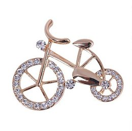 Wholesale Fancy Rhinestones - Wholesale- Hot New Beautiful Fashionable Trendy Unisex Fancy New Elegance Gold Rhinestone Crystal bike bicycle Brooch pin for jewelry gift