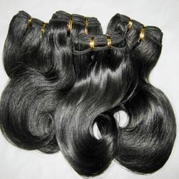6pcs / lot à armure courte 100% péruvienne cheveux humains 50g / pcs vague de corps trame couleurs foncées 8