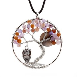 Wholesale Hot Birds - Hot Sale Tree of Life Charm Pendant Crystal Necklace Gemstone Jewelry Owl Birds Decoration Birthday Gifts