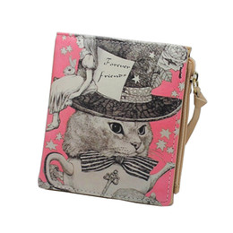 Wholesale Zebra Print Brown - Wholesale- Vintage Marilyn Monroe Purses Cat Print Women Wallets Brand Female Cartoon Wallet Zebra Carteira Feminina Clutch