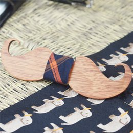 Wholesale Tie Clip Material - Handcrafted Natural Wooden bowtie Medium Mustache bow for female and male with fashion design Rosewood Material tie