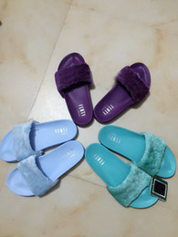 Wholesale Sewing Buttons Box - New Rihanna Leadcat Cool Blue Orchid Bloom Bay SLIDE Slippers Ladies Riri Fashion Burgundy Red Black Outdoor Sandals 36-41 With Box Dustbag