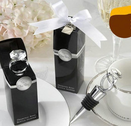 """Wholesale Diamond Ring Wine Stopper - Free Shipping 100pcs """"With This Ring"""" Chrome Diamond-Ring Bottle Stopper Love Crystal Ring Wine Bottle Stoppers Wedding Casamento Gifts"""