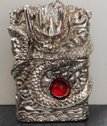 Wholesale Hand Carved Lighter - Wholesale- Wholesale brand 3D Hand-carved lighters heavy armor Handmade Tibetan Silver Dragon ZPO