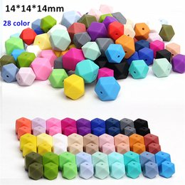 Wholesale Free Baby Pacifiers - 1000pcs lot BPA Free 14mm Loose Silicone Hexagon Beads for baby pacifier teether necklace infant dummy chewable teething jewelry