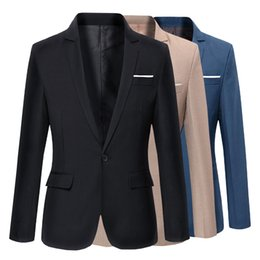 Wholesale Korea Style Male - Wholesale- 2017 New Fashion Casual Men Blazer Cotton Slim Korea Style Suit Blazer Masculino Male Suits Jacket Blazers Men Size M-3XL