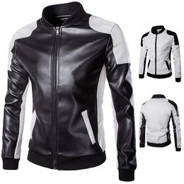 Wholesale Matches Leather Jackets - spring 2018 Men's oreign trade Collar black and white color matching big yards tothe man leather motorcycle jacket
