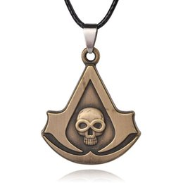 Wholesale Mark Side - child Assassin Creed Necklace logo Badge mark Duplex Double two Sided Pliers Pear shaped Arrow Letter V Pendant skull Skeleton Necklace x394