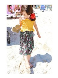 Wholesale Flowers Stories - summer flowers tutu Sandy beach dresses baby girls clothing holiday party wear 6AAB512DS-30[Eleven Story]