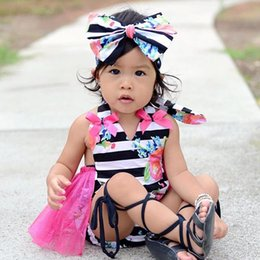 Wholesale Striped Infant Tutu - 2017 high quality baby girls outfits Newborn Infant child Girl sweet Clothes Tassels Strap cute pink Romper Bodysuit Jumpsuit Outfits