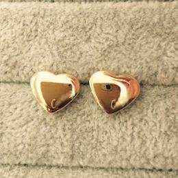 Wholesale Earring 3d - Top brand luxury 3D heart 18K Gold plated 316L titanium steel Stud Earrings For Women men girls boys