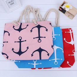Wholesale Designer Beach Totes - Boat Anchor Handbag Shoulder Bag Women Canvas Messenger Bag Ladies Beach Bags Stripes Anchor Totes Designer Shopping Bags KKA2058