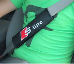 Wholesale Audi A4 Carbon - Sline Carbon Fiber Seat Belt Safety Cover RS Shoulder Pad for Audi A1 A3 A4L A5 A6 A7 A8 Q3 Q5 Q7 TT