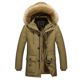 Wholesale Long Men S Parka Jackets - Wholesale- 2016 new arrival men's thick warm winter down coat fur collar men parka big yards long cotton coat jacket parka men M-5XL