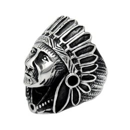 Wholesale Wholesale Vintage Style Rings - Super Cool mens ring Retro Trendsetter Titanium Stainless Steel Indian style Vintage ethnic Punk Ring jewelry