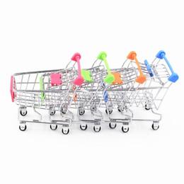 Wholesale fashion shopping cart - 60pcs lot Hot Fashion Mini Supermarket Hand Trolleys Mini Shopping Cart Desktop Decoration Storage Phone Holder Baby Toy New