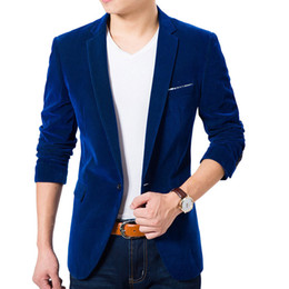 Wholesale Korean Blazers - Wholesale- High Quality Royal Blue Velvet Blazer Men 2017 New Autumn Korean Fashion Mens Slim Single Button Blazer Jacket Wedding Blazer
