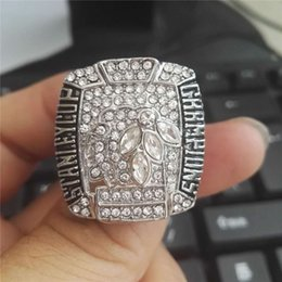 Wholesale hawk rings - Brand New men's large rings alloy made high polish Chicago black hawks stanley cup championship ring