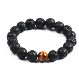 Wholesale popular beads - Wholesale Natural Lava Rock stone Popular sale lava beads bracelet Lavastone Bracelet with Tiger eye beads 8mm ball bracelet