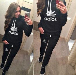 Wholesale Piece Clothes Woman - Women sport suit Hoodies Sweatshirt +Pant Running Sport Track suit 2 Pieces jogging sets survetement femme clothing