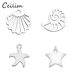Wholesale Wholesale Starfish For Jewelry Making - 2017 fashion kawaii ocean small animal charms for jewelry making high quality polishing metal conch & shell & starfish charm and pendants