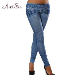 Wholesale Plus Size Winter Print Leggings - 2016 Winter Pocket Folds Women Boots Jean Print Women Denim Leggings Plus Size Leggins Elastic Fashion Pants LE2179