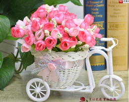 Wholesale Floor Frame - Wholesale-one set( Rattan floats vase + Flower) artificial silk rose flower with Rattan Frames for bicycles vase plant set home decoration