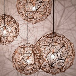 Wholesale dixon chandelier - Etch LED Light Web Copper   Silver Chandeliers Tom Dixon Pendant Lamp Lights Creative Diamond Droplight Light Lighting Home Bar Decor Lights