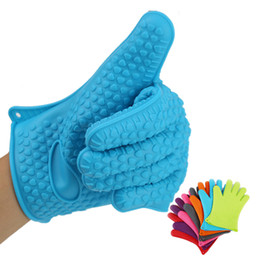 Wholesale Microwave Oven Heating - Silicone Kitchen Cooking Gloves Microwave Oven Non-slip Mitt Heat Resistant Silicone Home Gloves Cooking Baking BBQ gloves Holder