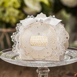 Wholesale Lace Wedding Favor Boxes - 75*108*38mm Wedding Favor Packaging Novelty Ivory Lace Bowknot Paper Candy Favors Boxes for Gift Wrap Wedding Party Supplies