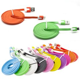 Wholesale Iphone Noodle Chargers 3m - 3m 10ft 2m 6ft 1m 3FT Noodle Flat Micro USB Cable Cables Cord Cords USB Charger V8 Charging Line for Android Samsung All phone 4 5 6
