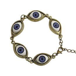 Pulseras del ojo del ángel gótico de la vendimia cinco ojos azules pulsera de piedra natural del encanto 2017 joyería de la personalidad al por mayor desde fabricantes