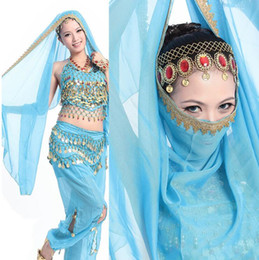 Wholesale Indian Dance Wear - Free EMS DHL 10pcs High Quality Indian Style CHIFFON Belly Dance Head Veil Wear Costume Dance Accessory Headband Head Scarf