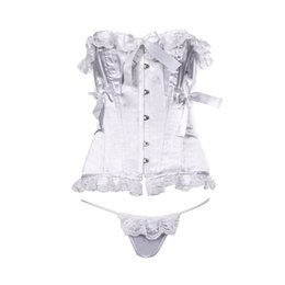 Wholesale Underwear Women Sheer White - Corset Bustier G-string French Elegant Lace Bow Sheer Fabric Underwear Set Steel Bone New Year Women Soutien-gorge Baroque Blanc Dentlle