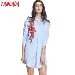 Wholesale Three Quarter Sleeve Floral Blouse - Wholesale- Tangada Fashion Women Floral Embroidery Mini Blouse Dress Striped Turn-down Collar Three Quarter Sleeve Casual Vestidos LE79