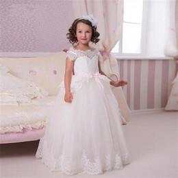 cea7d15a76c 2018 Cute White Lace Flower Girls Dresses Cap Sleeve New Arrival Ball Gown  Tulle vestidos de comunion Kids Party Dress