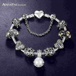 Wholesale Antique Snake Bracelet - Promotion Sale Antique 925 Silver Charm Fit Bangle & Bracelet with Love and Flower Crystal Ball for Women Wedding