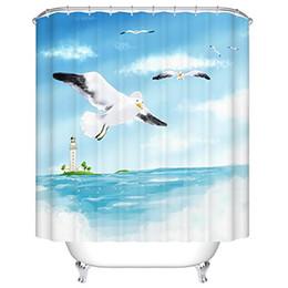 2019 country set da bagno 180 * 180 centimetri 3D Tende da doccia Vintage Anchor Bath Curtain Moda impermeabile bordo di legno Bagno Tende da doccia