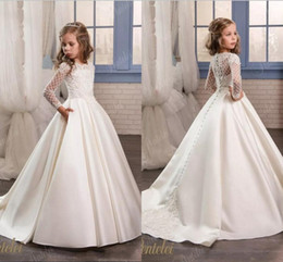 Wholesale Satin Princess Wedding Dresses - Princess White Lace Flower Girl Dresses 2017 New Sheer Long Sleeves First Communion Birthday Party Dresses Girls Pageant Dress For Weddings