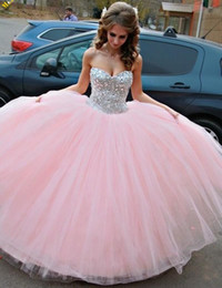 Wholesale Pink Princess Apple - Dress for 15 Years Vestido De Debutante 2017 Sweetheart Pink Tulle Ball Gown Princess Quinceanera Dresses with Crystals