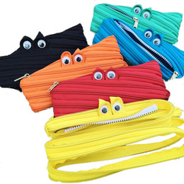 Wholesale portable office case - Wholesale- Hot Sale Monster Eyes School Pencil Bag Pencil Pouch Zipper Portable Cosmetic Bags Office Stationery Canvas Pencil Case 45