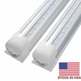 Wholesale Tube Led Cooler Door Lights - V-Shaped 4ft 5ft 6ft 8ft Cooler Door Led Tubes T8 Integrated Led Tubes Double Sides SMD2835 Led Fluorescent Lights 85-265V Stock In US