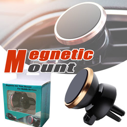 Wholesale Universal Smartphone Car Mount - Universal Car Mount Air Vent Magnetic Car Phone Holder Reinforced Magnet Easier Safer Driving For iPhone X 8 7 Smartphone One Step Mount