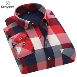 Wholesale Thick Warm Winter Mens Shirts - Wholesale- Kcoyster Large Checks Shirts Winter Warm Mens Plaid Shirts Slim Fit Casual Checkered Shirts for Men Thick Velvet Thermal Clothes