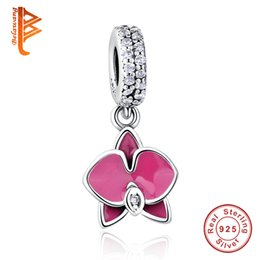Wholesale Made Crown Flower - BELAWANG 925 Sterling Silver Orchid Dangle Charm Crown Charms Loose Beads Fit Pandora Charm Bracelet&Bangle Jewelry Making Free Shipping